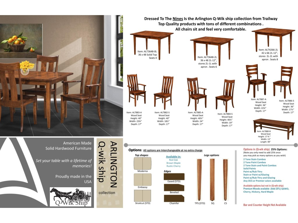 trailway wood alt3648 5 piece set includes solid wood amish table 4 chairs old brick furniture dining 5 piece set - Old Brick Dining Room Sets