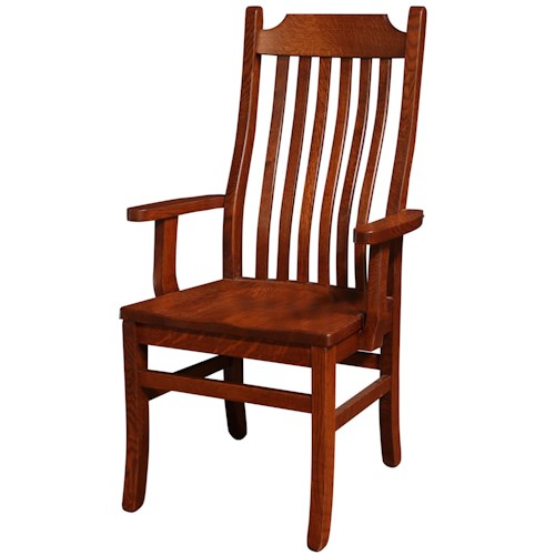 Rotmans Amish Copper Canyon Solid Wood Dining Arm Chair with Waved Slat Back