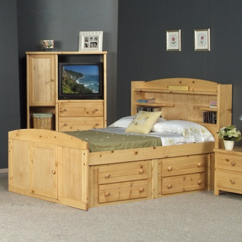 Trendwood Bayview Twin Palomino Bed w/ Four Drawer Storage