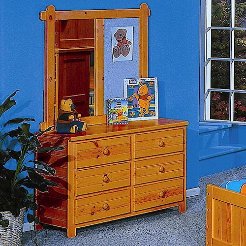 Trendwood Bayview Six Drawer Dresser & Landscape Mirror Combination