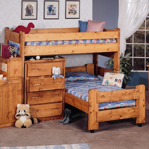 Trendwood Bunkhouse Twin/Twin Apache Loft Bed with Twin Caster Bed