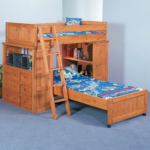 Trendwood Bunkhouse Twin/Twin Roundup Modular Loft Bed with Dresser and Shelf Units