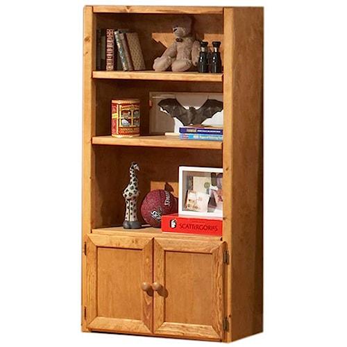 Trendwood Bunkhouse Universal Bookcase with 3 Shelves & 2 Doors