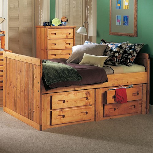 Trendwood Bunkhouse Twin Roper Captain's Bed with 4 Drawer Underdresser