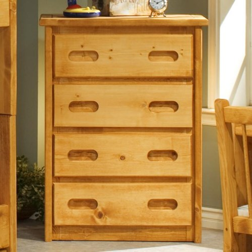 Trendwood Bunkhouse 4 Drawer Pine Chest with Carved Handles