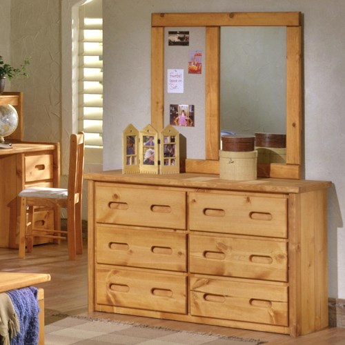 Trendwood Bunkhouse 6 Drawer Dresser & Landscape Mirror with Corkboard