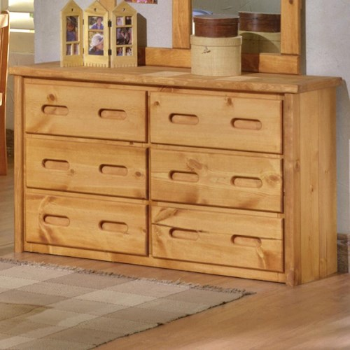 Trendwood Bunkhouse 6 Drawer Pine Dresser with Carved Handles