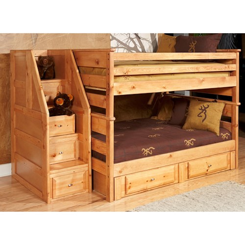 Trendwood Laguna  Full/Full Bunk Bed with Drawer Staircase and Underbed Storage