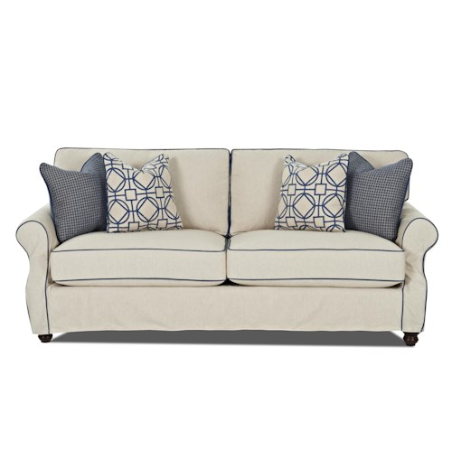 Trisha Yearwood Home Tifton Traditional Sofa with Slipcover and Rolled Arms