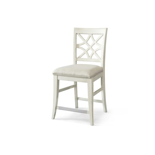 Trisha Yearwood Home Trisha Yearwood Home Nashville Counter Height Special Order Chair with Lattice Back