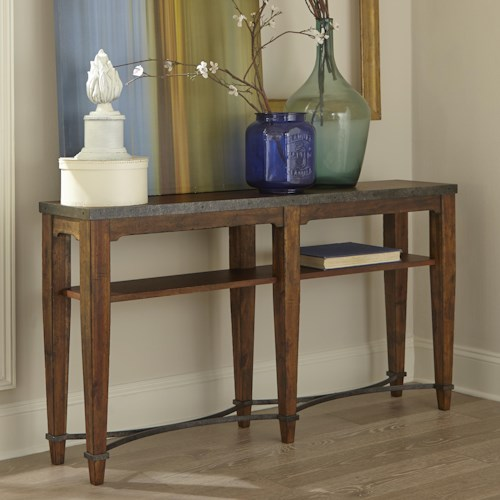 Trisha Yearwood Home Collection by Klaussner Trisha Yearwood Home Ginkgo Sofa Table with Shelf and Metal Accents