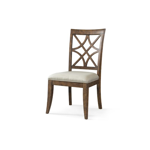 Trisha Yearwood Home Trisha Yearwood Home Nashville Special Order Side Chair with Lattice Back and Upholstered Seat