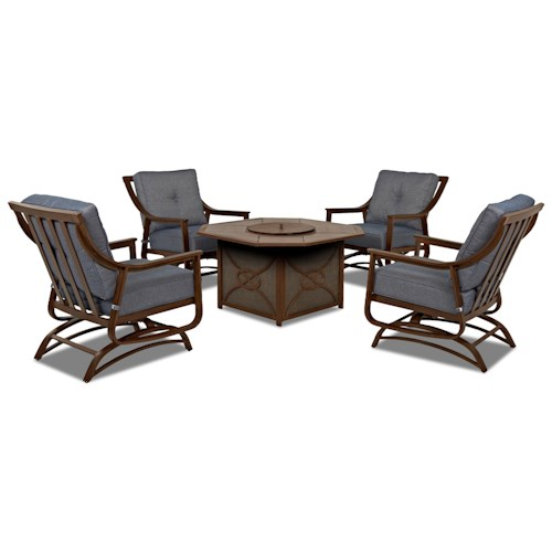 Trisha Yearwood Home Collection by Klaussner Trisha Yearwood Outdoor 5-Piece Set with Firepit