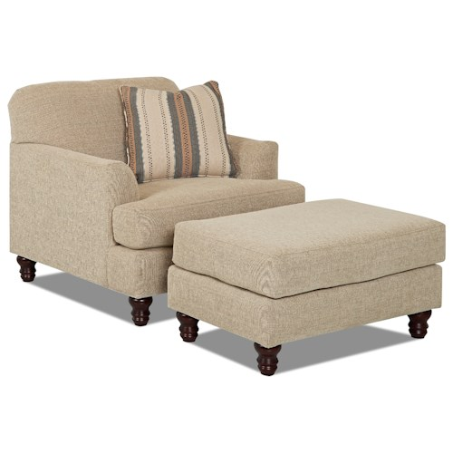 Trisha Yearwood Home Collection by Klaussner Yukon Casual Chair and Ottoman Set