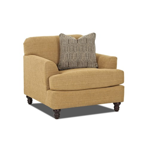 Trisha Yearwood Home Collection by Klaussner Yukon Casual Chair with Sloped Arms and Turned Wood Feet
