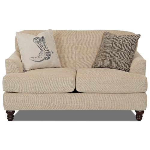 Trisha Yearwood Home Collection by Klaussner Yukon Casual Loveseat with Sloped Arms and Turned Feet