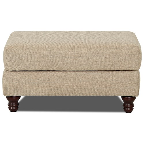 Trisha Yearwood Home Collection by Klaussner Yukon Ottoman with Turned Wood Feet