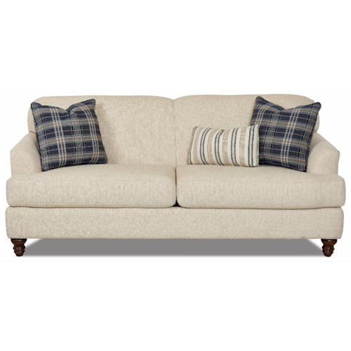 Trisha Yearwood Home Collection by Klaussner Yukon Casual Sofa with Sloped Arms and Turned Wood Feet