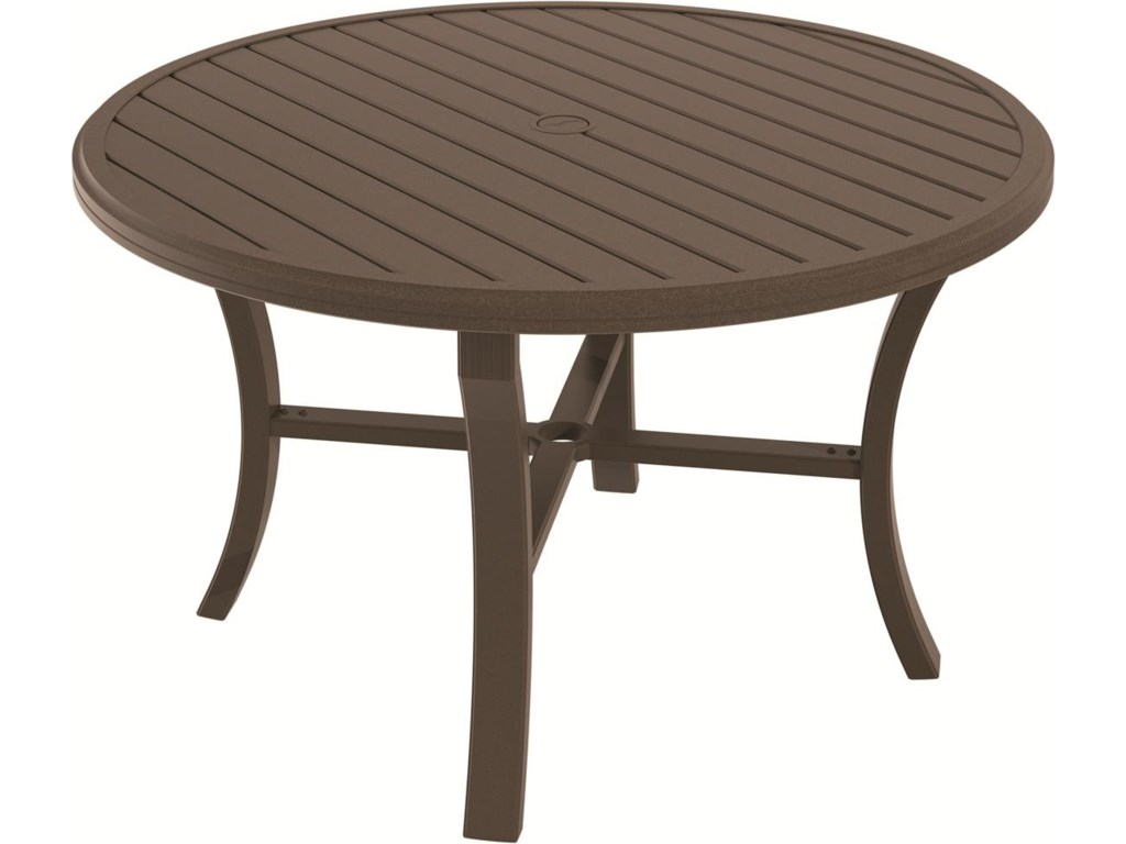 Outdoor round dining tables - Tropitone Outdoor Tables Round Dining Table With Umbrella