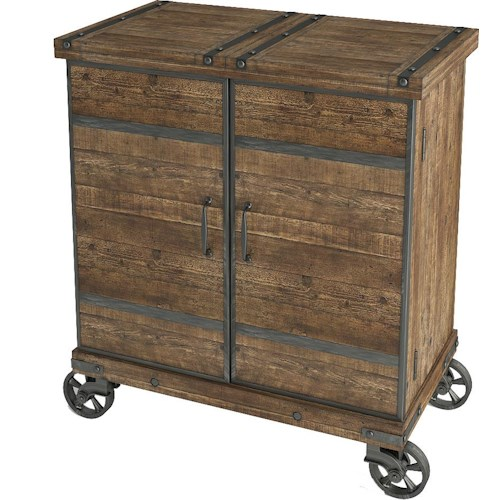 Turnkey Products Artisan Revival Expandable Bar Cabinet on Locking Casters