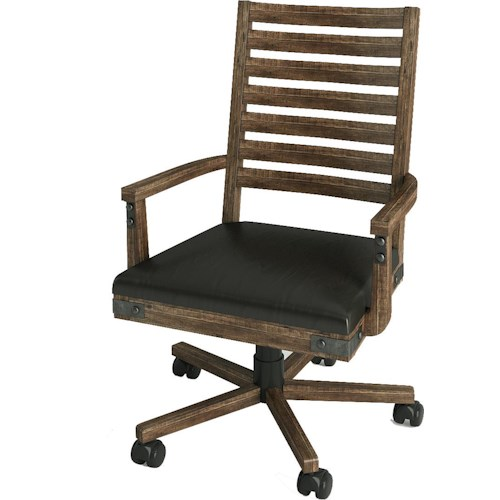 Turnkey Products Artisan Revival Office Arm Chair with Leather Seat