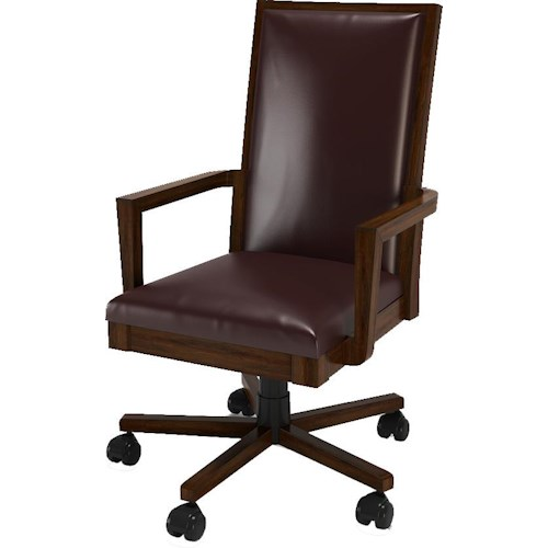Turnkey Products Austere Antiques Leather Office Arm Chair