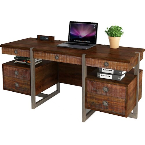 Turnkey Products Austere Antiques Credenza Desk with Power Well