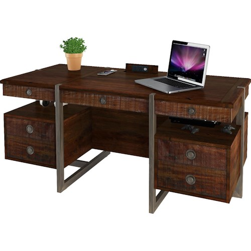 Turnkey Products Austere Antiques Executive Desk with Power Well