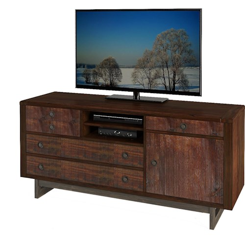 Turnkey Products Austere Antiques Storage Credenza with Pullout Printer Area