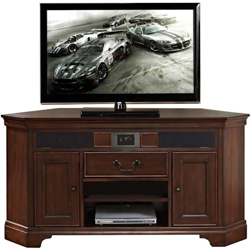 Turnkey Products Belcourt Corner Audio TV Stand with Built In Surround Sound