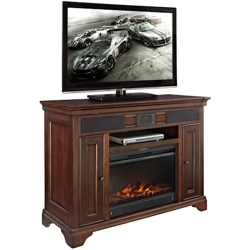 Turnkey Products Belcourt Audio TV Stand with Fireplace