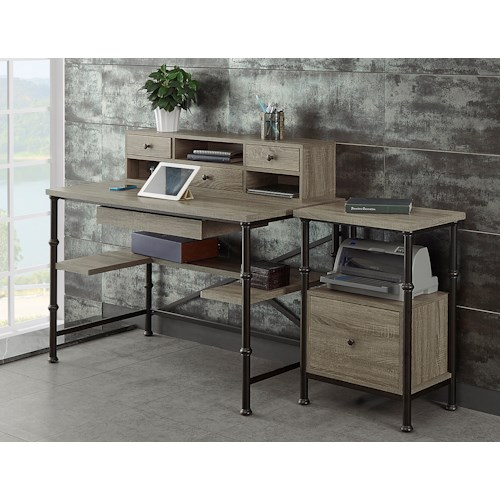 Turnkey Products Durham Rectangle Writing Desk With Hutch, And File Cabinet