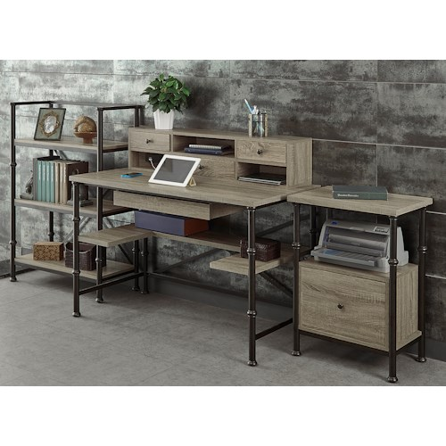 Turnkey Products Durham Rectangle Writing Desk, Hutch, File Cabinet, and 44