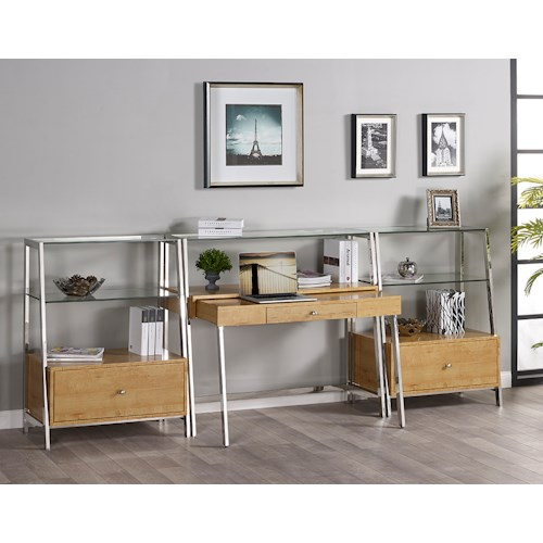 Turnkey Products Geo Credenza Desk and 2 Bookcases