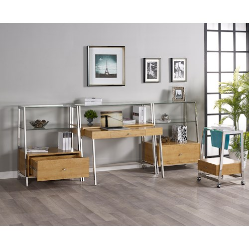 Turnkey Products Geo Credenza Desk, 2 Bookcases, and File Cart