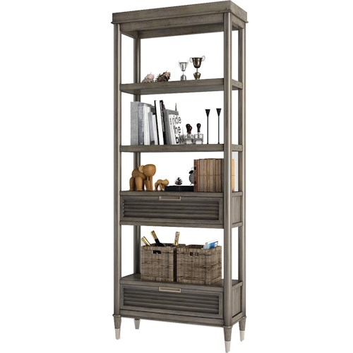 Turnkey Products Modern Nostalgia Etagere Bookcase with 2 Pass-Through Drawers