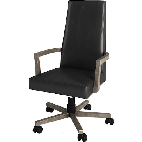 Turnkey Products Modern Nostalgia Office Leather Arm Chair