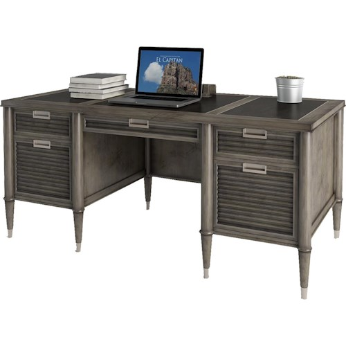 Turnkey Products Modern Nostalgia Credenza Desk with 2 File Drawers