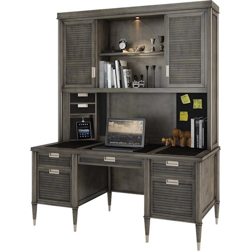 Turnkey Products Modern Nostalgia Credenza Desk with Smart Hutch