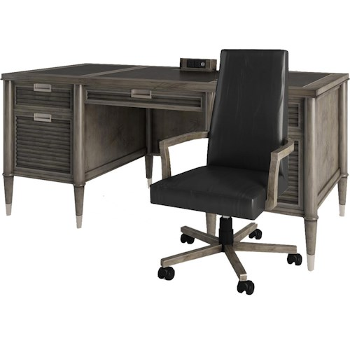 Turnkey Products Modern Nostalgia Executive Desk with Office Arm Chair