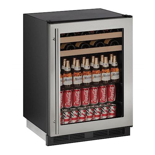 "U-Line Beverage Centers 5.4 cu ft. 1000 Series 24"" Beverage Center with Stainless Steel Locking Frame"