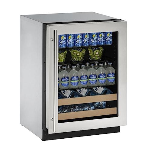 "U-Line Beverage Centers ENERGY STAR® 4.9 cu ft. 2000 Series 24"" Beverage Center with Stainless Steel Framed Locking Door"