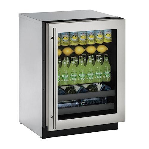 "U-Line Beverage Centers ENERGY STAR® 4.9 cu ft. 3000 Series 24"" Beverage Center with Stainless Steel Framed Locking Door"