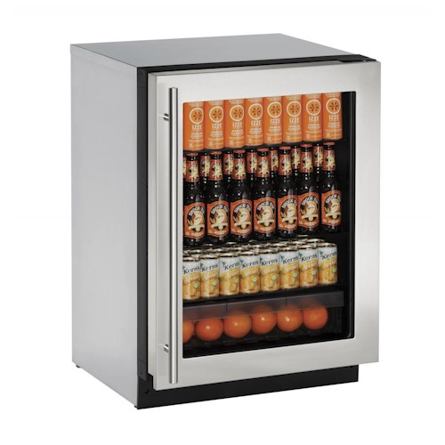 U-Line Refrigerators 4.9 Cu. Ft. 2000 Series Compact Glass Door Refrigerator with Full-Extension Crisper Drawer