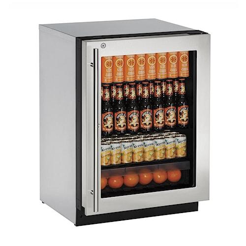 U-Line Refrigerators 4.9 cu. ft. Built-in Compact Locking Glass-Door Refrigerator with 4 Adjustable Tempered Glass Shelves