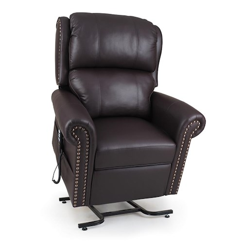 Morris Home Furnishings StellarComfort Traditional Style Medium Size Lift Chair with Rolled Arms and Nailhead Trim