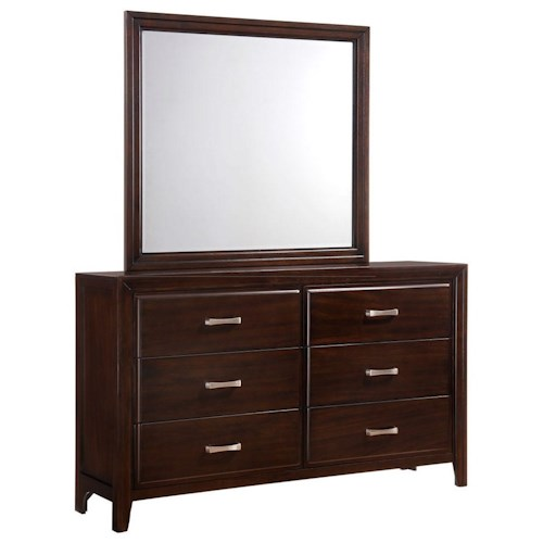 Simmons Upholstery 1006 Agathis Dresser and Mirror with Frame