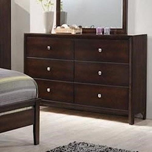 Simmons Upholstery Jackson 6 Drawer Dresser Royal