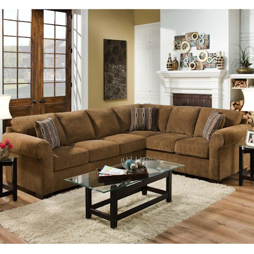 United Furniture Industries 1685  Casual Sectional Sofa With Rolled Arms