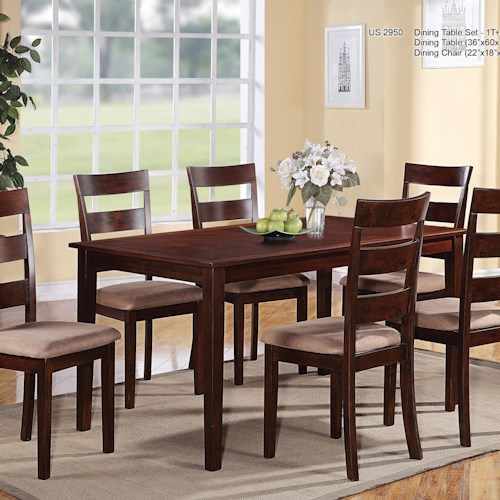 U.S. Furniture Inc 2950 Casual Seven Piece Rectangular Table and Ladder-Backed Chairs Dining Set